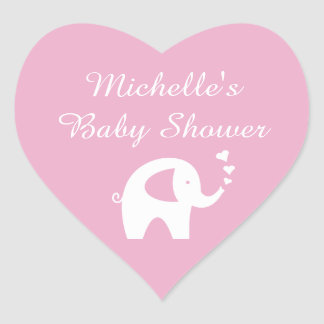 Pink heart shaped elephant baby shower stickers