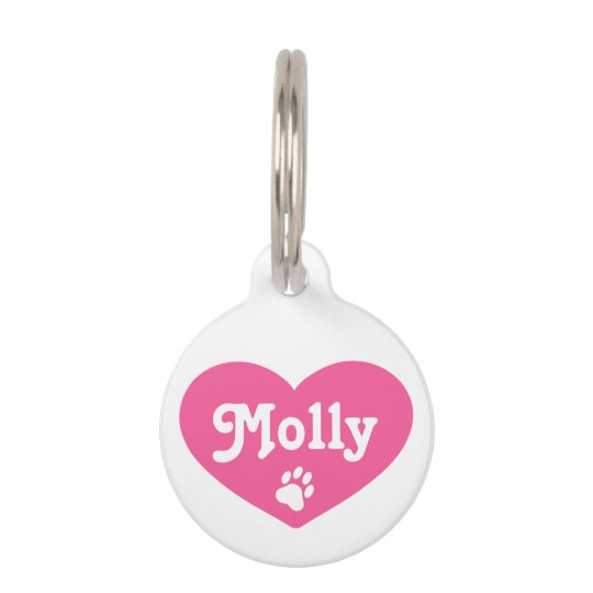 Pink Heart Silhouette With Name And Number Pet ID Tag