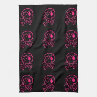 Pink Heart Skull and Crossbones Hand Towel