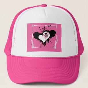 fcb2ce3fd74 Pink Heart Skull Ball Cap