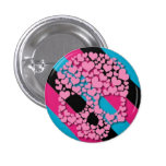 Pink Heart Skull on Stripes Button