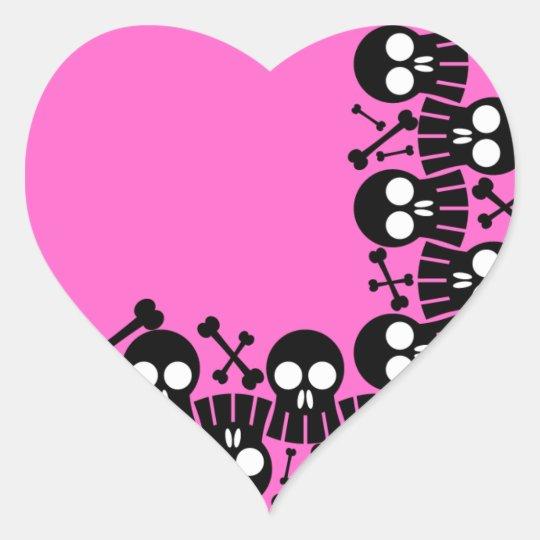 Pink Heart - Skulls & Bones Stickers