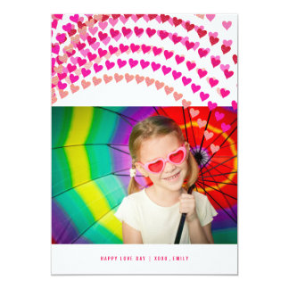 Pink Heart Sprinkles Valentine's Day Photo Card