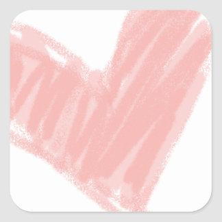 Pink Heart Square Stickers