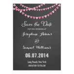 Pink Heart String Chalkboard Save The Date Custom Invites