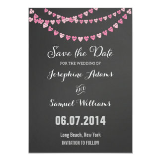 Pink Heart String Chalkboard Save The Date 5x7 Paper Invitation Card