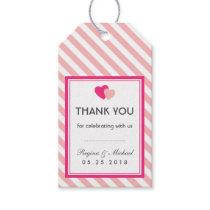 Pink Heart Stripes Pattern Wedding Favor Gift Tag