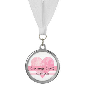 Pink Heart Survivor Silver Medallion Customizable Medal