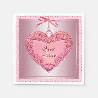Pink Heart Sweet 16 Birthday Party Napkins