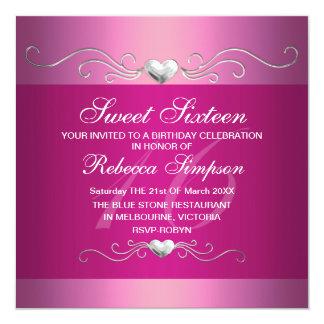 Pink Heart Sweet Sixteen Birthday Invitation