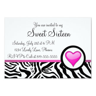 Pink Heart Sweet Sixteen 3.5x5 Paper Invitation Card