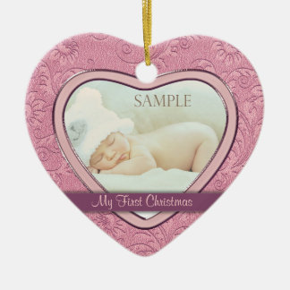 Pink Heart Swirl Baby First Christmas Double-Sided Heart Ceramic Christmas Ornament