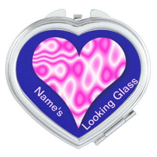 Pink Heart Swirl Looking Glass (Customizable) Makeup Mirrors