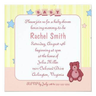 "Pink Heart Teddy Bear Baby Shower Invitation 5.25"" Square Invitation Card"