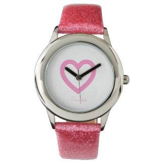 Pink heart template watch