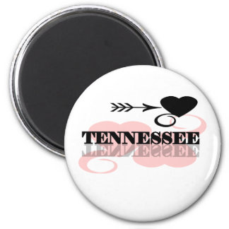 Pink Heart Tennessee 2 Inch Round Magnet