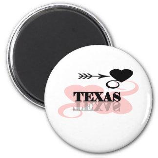 Pink Heart Texas 2 Inch Round Magnet