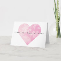 Pink Heart Thank You Card