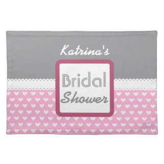 Pink Heart Themed Bridal Shower A26 Placemat