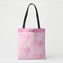 Pink Heart Tote Bag, Customizable