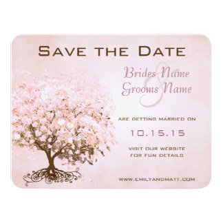 Pink Heart Tree Wedding Save the Date 4.25x5.5 Paper Invitation Card
