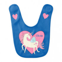 Pink Heart Unicorn Personalized Bib