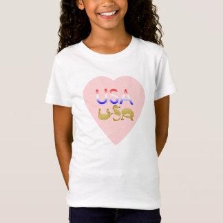 Pink heart USA written in  ponies T-Shirt