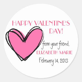 Pink Heart-Valentine's Day Classic Round Sticker
