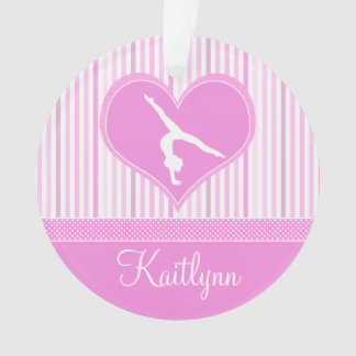 Pink Heart w/ White Stripes and Polka-Dot Gymnast Ornament