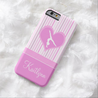 Pink Heart w/ White Stripes and Polka-Dots Gymnast Barely There iPhone 6 Case