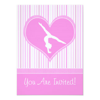 Pink Heart w/ White Stripes and Polka-Dots Gymnast Card