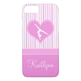 Pink Heart w/ White Stripes and Polka-Dots Gymnast iPhone 8/7 Case