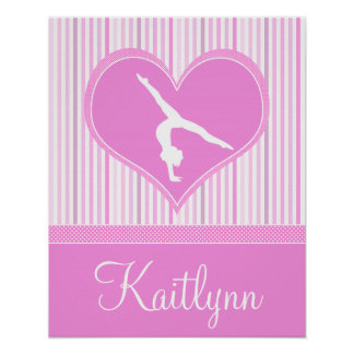 Pink Heart w/ White Stripes and Polka-Dots Gymnast Poster