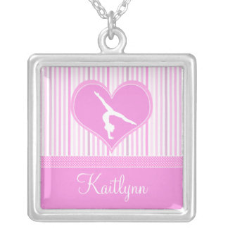 Pink Heart w/ White Stripes and Polka-Dots Gymnast Silver Plated Necklace