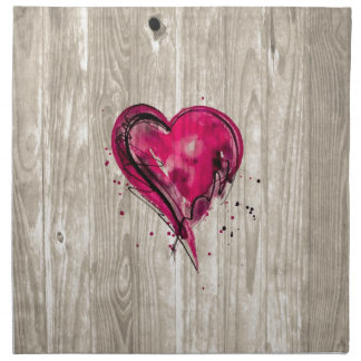 Pink Heart Watercolor on Wood Napkin