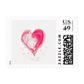 Pink Heart Watercolor Postage