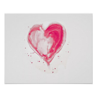 Pink Heart Watercolor Poster