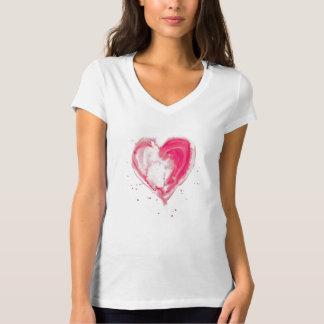 Pink Heart Watercolor Tee Shirt