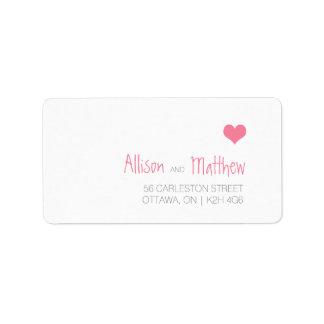 Pink Heart Wedding Address Label
