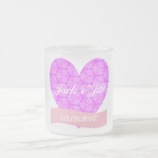 Pink Heart Wedding Frosted Mug (10 oz)