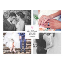 Pink Heart | Wedding Photo Collage | Love & Thanks Postcard