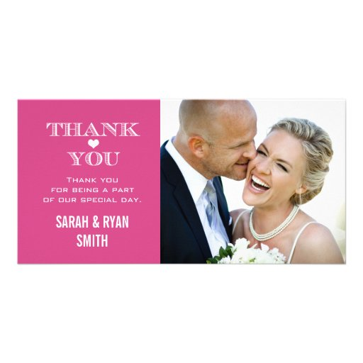 Pink Heart Wedding Photo Thank You Cards Personalized Photo Card