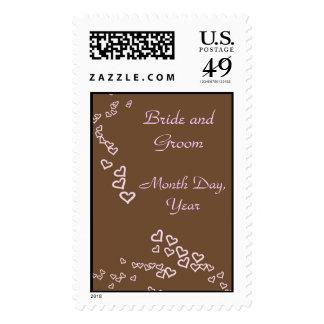 Pink Heart Wedding Postage Stamp
