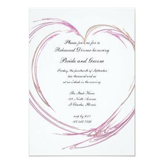 Pink Heart Wedding Rehearsal Dinner Invitation