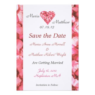 Pink Heart Wedding Save The Date Card Announcements
