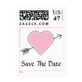 Pink Heart Wedding Save The Date Postage