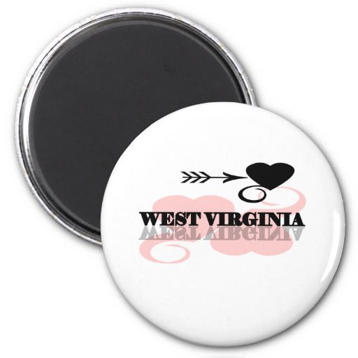 Pink Heart West Virginia Magnets