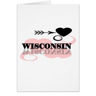 Pink Heart Wisconsin Card