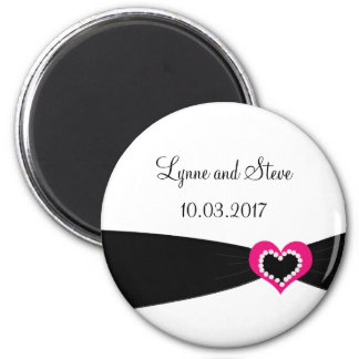 Pink Heart with Black Ribbon Save the Date Magnets