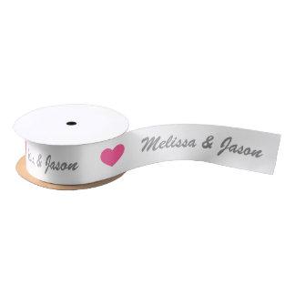 Pink Heart With Custom Wedding Couple Names Satin Ribbon